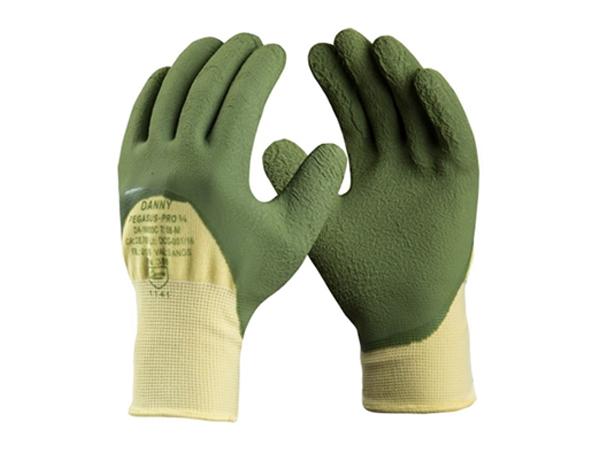 Luva de segurança em tecido de Nylon (poliamida), recoberto na palma, face palmar e ponta dos dedos, ¾ ou total com banho látex corrugado. Proporciona conforto, maleabilidade e excelente tato.